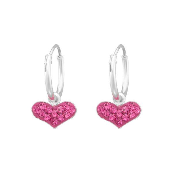 DĚTSKÉ KRUHOVÉ NÁUŠNICE – SRDCE Pink , Ag925/1000, 0,75g