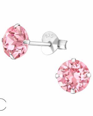 PUZETOVÉ NÁUŠNICE – Kolečka s Swarovski® krystaly - Pink, Ag925/1000, 0,45g