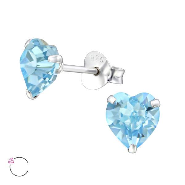 PUZETOVÉ NÁUŠNICE – Srdce s Swarovski® krystaly - Aquamarine, Ag925/1000, 0,45g