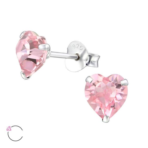 PUZETOVÉ NÁUŠNICE – Srdce s Swarovski® krystaly – Light Rose, Ag925/1000, 0,45g