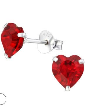 PUZETOVÉ NÁUŠNICE – Srdce s Swarovski® krystaly – Light Siam, Ag925/1000, 0,45g