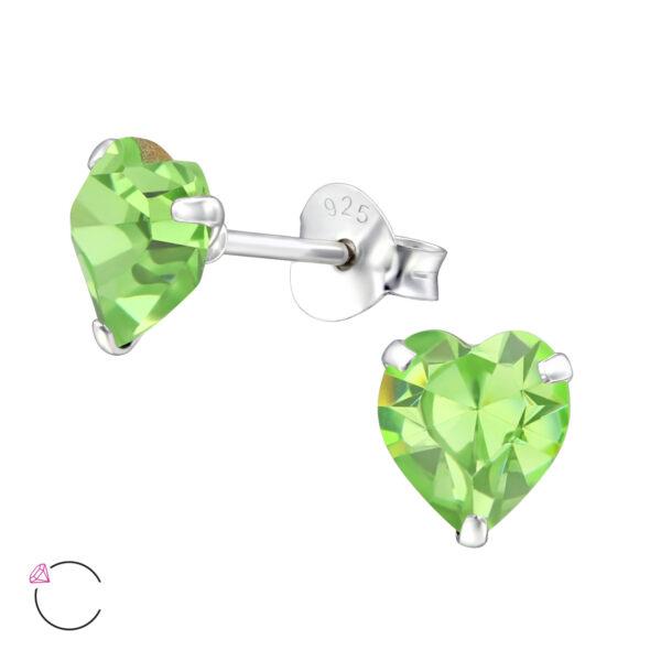 PUZETOVÉ NÁUŠNICE – Srdce s Swarovski® krystaly – Peridot, Ag925/1000, 0,45g