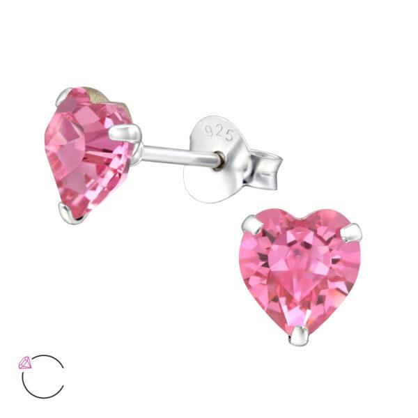 PUZETOVÉ NÁUŠNICE – Srdce s Swarovski® krystaly – Rose, Ag925/1000, 0,45g