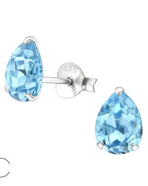 PUZETOVÉ NÁUŠNICE – Hruška s Swarovski® krystaly – Aquamarine, Ag925/1000, 0,50g