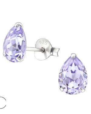 PUZETOVÉ NÁUŠNICE – Hruška s Swarovski® krystaly – Violet, Ag925/1000, 0,50g