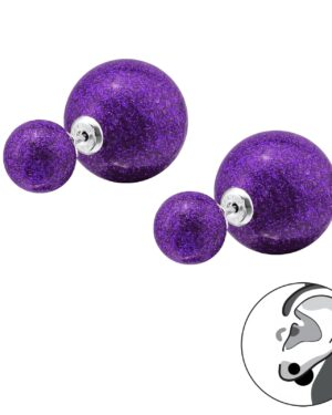 DÁMSKÉ STŘÍBRNÉ NÁUŠNICE – DVOJITÉ Glitter Purple, Ag925/1000, 0,50g